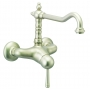BASIN MIXER NEW OLD WALL MOUNT w WHITE LEVER AND SWIVEL SPOUT, CHRIOME