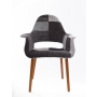 armchair Arne, grey patchwork, dark brown wooden feet